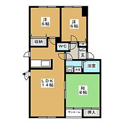 カーサプランタンIIE棟[2階]の間取り