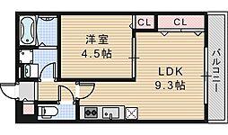 大阪府大阪市阿倍野区丸山通1丁目の賃貸アパートの間取り