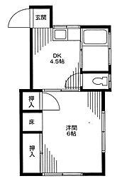 東京都新宿区高田馬場1丁目の賃貸アパートの間取り