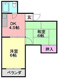 平野西コスモハイツ[201号室]の間取り