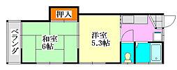 コーポ川島[2階]の間取り