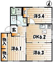 アルカディア D棟[1階]の間取り