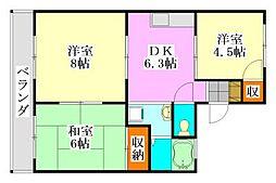 コーポサングリーン[2階]の間取り
