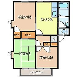 長野県長野市大字下駒沢の賃貸アパートの間取り