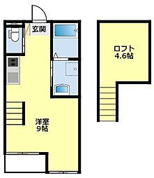 愛知環状鉄道 三河豊田駅 徒歩8分の賃貸アパート 1階ワンルームの間取り