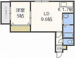 キングハウス環状通東[2階]の間取り