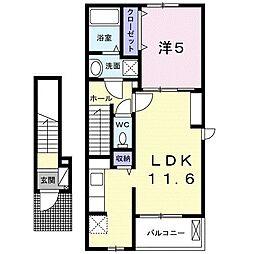 岡山電気軌道清輝橋線 東中央町駅 徒歩6分の賃貸アパート 2階1LDKの間取り