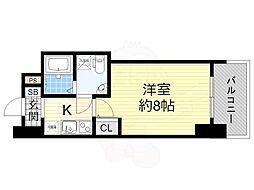 阪神なんば線 桜川駅 徒歩1分の賃貸マンション 8階1Kの間取り