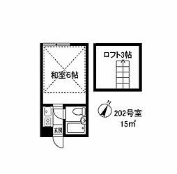 092204 山崎ハイツ[202号室]の間取り