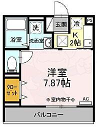京王線 国領駅 徒歩4分の賃貸アパート 1階1Kの間取り