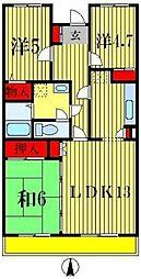 千葉県松戸市五香西2丁目の賃貸マンションの間取り