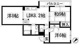兵庫県川西市満願寺町の賃貸マンションの間取り