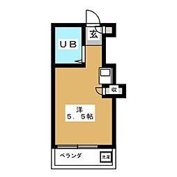 ピュアハウス若竹 1階ワンルームの間取り