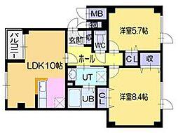 北海道江別市元江別本町の賃貸アパートの間取り