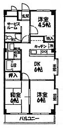 ウイングマンション青木[401号室]の間取り