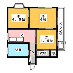 ロイヤルマンション 2階3DKの間取り