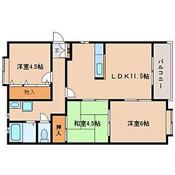 静岡県静岡市駿河区登呂1丁目の賃貸アパートの間取り