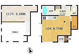 東急世田谷線 若林駅 徒歩9分の賃貸アパート 1階2LDKの間取り