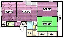 広島県広島市安佐南区西原1丁目の賃貸アパートの間取り