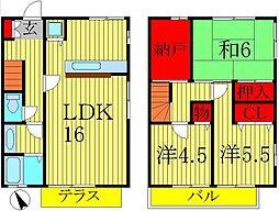 [テラスハウス] 千葉県柏市西原2丁目 の賃貸【/】の間取り