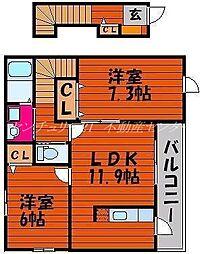 JR津山線 玉柏駅 徒歩21分の賃貸アパート 2階2LDKの間取り