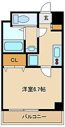 阪神本線 出屋敷駅 徒歩8分の賃貸マンション 7階1Kの間取り