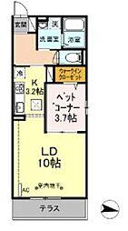 ハーウェル湘南台 1階1LDKの間取り