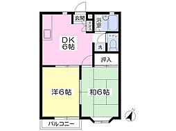 シャンボール島田 2階2DKの間取り