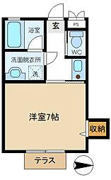 三愛コーポ袋山 202[2階]の間取り