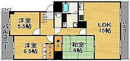 大和川コーポ1号棟[8階]の間取り