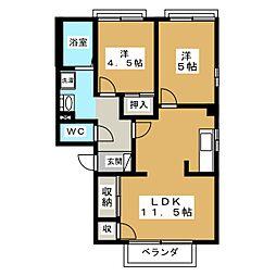 サンハイム東大垣 B[1階]の間取り