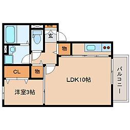静岡県静岡市駿河区中島の賃貸アパートの間取り