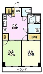 ヴァンベール 2階2DKの間取り