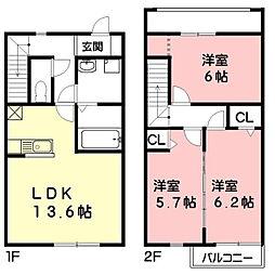 岐阜県羽島市竹鼻町飯柄の賃貸アパートの間取り