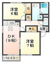 滋賀県高島市新旭町饗庭の賃貸アパートの間取り