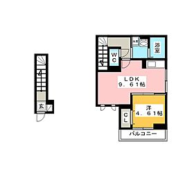 仮)D-room舎人3丁目 2階1LDKの間取り
