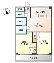 メゾン・エスポアールII[2階]の間取り