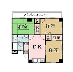 埼玉県草加市青柳7丁目の賃貸マンションの間取り