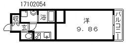 クローバーグランツ阿倍野[2階]の間取り