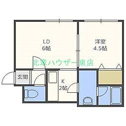 北海道札幌市東区北十四条東13丁目の賃貸アパートの間取り