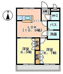 フォーティワン東垣生[202号室]の間取り