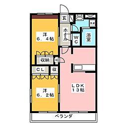岐阜県可児市下切の賃貸マンションの間取り