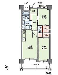 クラシオン小笹山手5番館 3階2LDKの間取り