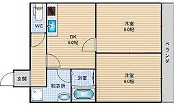 ラパンジール恵美須2[6階]の間取り