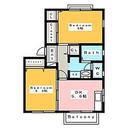 サンロード赤塚 B[2階]の間取り