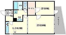 ラパンジール恵美須[9階]の間取り