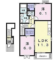 東京都東久留米市下里1丁目の賃貸アパートの間取り