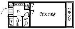 ドミール橘土生 1[3階]の間取り