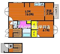 JR山陽本線 瀬戸駅 徒歩5分の賃貸アパート 2階2LDKの間取り