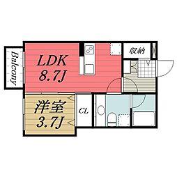 千葉県八街市文違の賃貸アパートの間取り